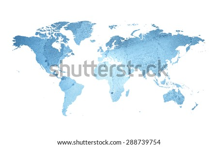 An illustration of an ice earth map. - stock photo