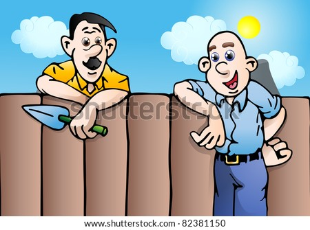 an illustration of an man couple stopping to talk while gardening on blue sky background - stock photo