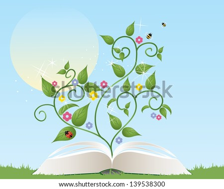 an illustration of an open gardening book with foliage flowers and insects coming from the pages under a summer sun - stock photo