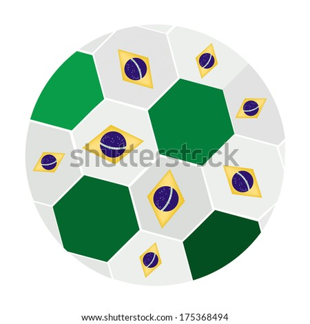 An Illustration of Brazil Flags on A Soccer Ball or Football of Brazil Championship , Isolated on A White Background.