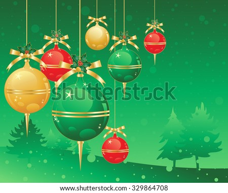 an illustration of christmas decorations in red gold and green metallic baubles on a snowy green background - stock photo