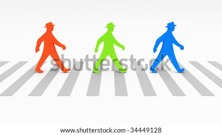 An illustration of 3 colored men crossing the street