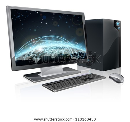 An illustration of desktop PC computer workstation with world globe on the screen. Monitor, mouse keyboard and tower - stock photo