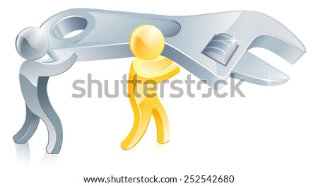 An illustration of gold mascot people with a giant wrench or spanner - stock photo