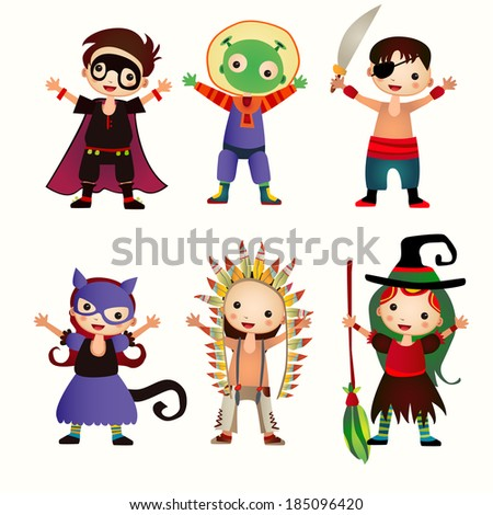 An illustration of kids in halloween costumes. Rasterized Copy - stock photo