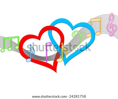An illustration of Musical hearts concept on white background