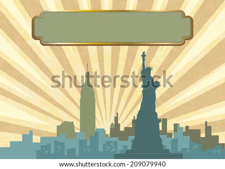 An illustration of New York City skyline in vintage color - stock photo