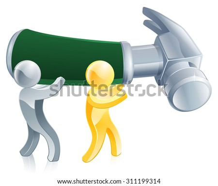 An illustration of people repairing something with a big hammer - stock photo
