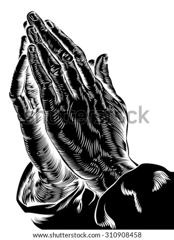 An illustration of praying hands inspired by Albrecht Durer s 1508 study - stock photo