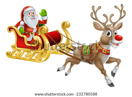 An illustration of Santa Claus riding in his Christmas Sleigh or Sled delivering presents with his red nosed reindeer - stock photo