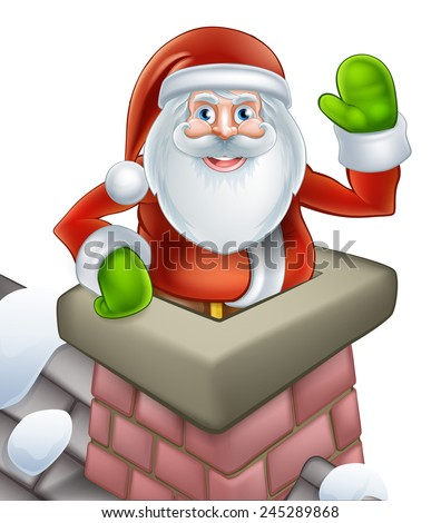An illustration of Santa on a snowy rooftop poping out of a chimney and waving at Christmas. - stock photo
