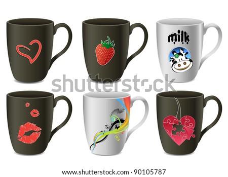 An illustration of six modern mugs - stock photo