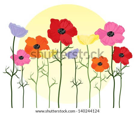 an illustration of stylized poppies in bright colors with green foliage and a yellow sun on a white background