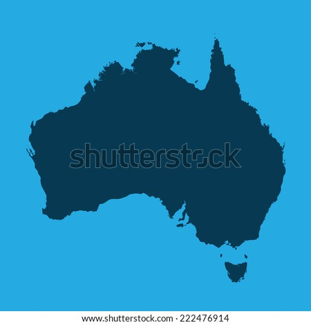 An Illustration of the continents of the world on white background - Australia - stock photo