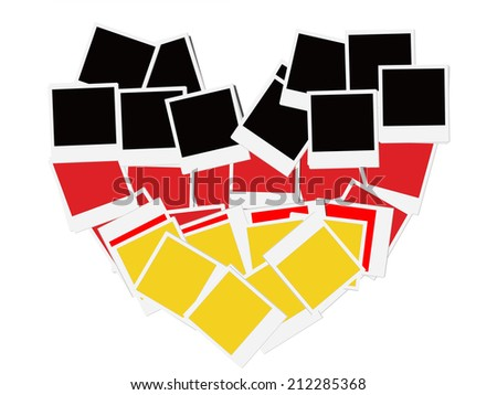 An illustration of the flag of Germany, photo frame, heart-shaped