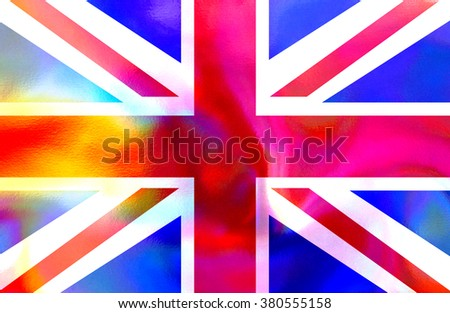 An illustration of the holographic Union Jack Flag. - stock photo