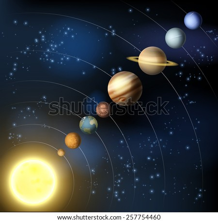 An illustration of the planets of our solar system in orbit aorund the sun. - stock photo