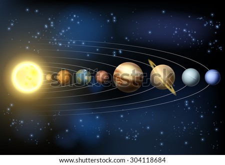 An illustration of the planets of our solar system orbiting the sun in outer space. - stock photo