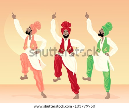 an illustration of three male punjabi dancers dressed in colorful costumes with turbans and waistcoats on a sunset background - stock photo