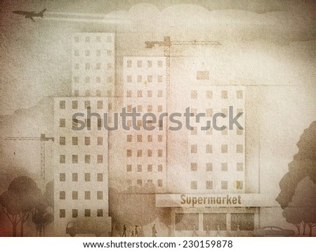 An illustration of town street painted on old paper - stock photo