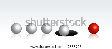 An illustration showing a line of white balls falling into a hole one by another. Just one single red ball made it on the other side.