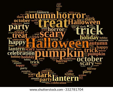 An illustration with word cloud on Halloween.