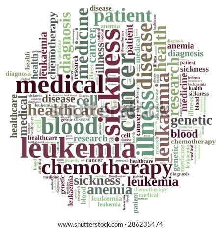 An illustration with word cloud on leukemia. - stock photo