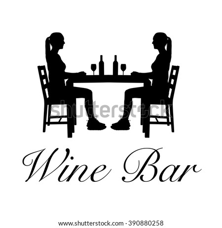 An image consisting of a silhouette with two women with pony tails sitting across from each other on chairs at a table with two bottles of wine and two glasses on it and the words, Wine Bar, below.