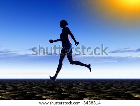 An image of a bare footed women running, with the sky in the background.