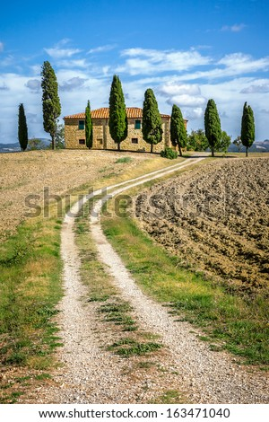 An image of a beautiful house in Tuscany Italy - stock photo