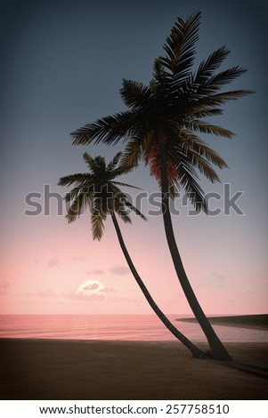 An image of a beautiful sunset over the ocean with a palm tree