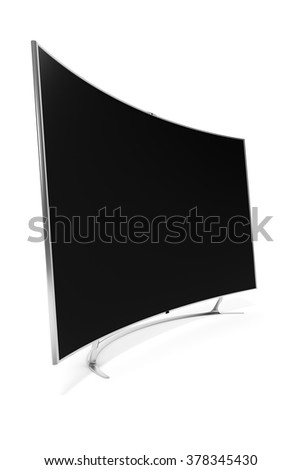 An image of a big curved widescreen television - stock photo