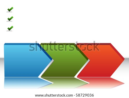 An image of a blank three stage chart. - stock photo