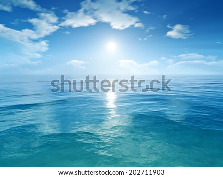 An image of a blue sky ocean background