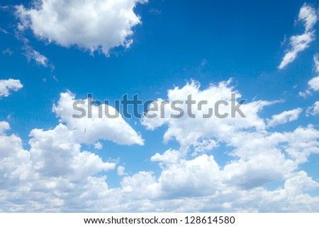 An image of a bright blue sky background - stock photo