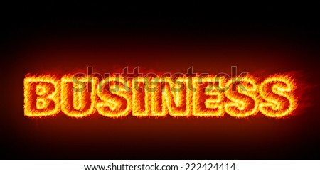 An image of a burning word business