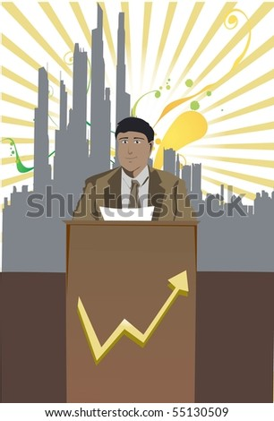 An Image of a business is making an important announcement for his company - stock photo