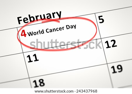An image of a calendar detail shows february the 4th World Cancer Day - stock photo