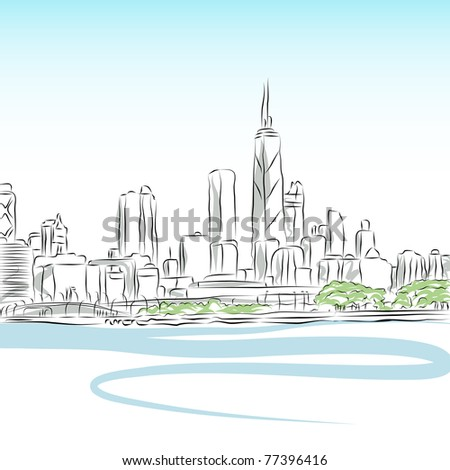 An image of a Chicago cityscape line drawing. - stock photo