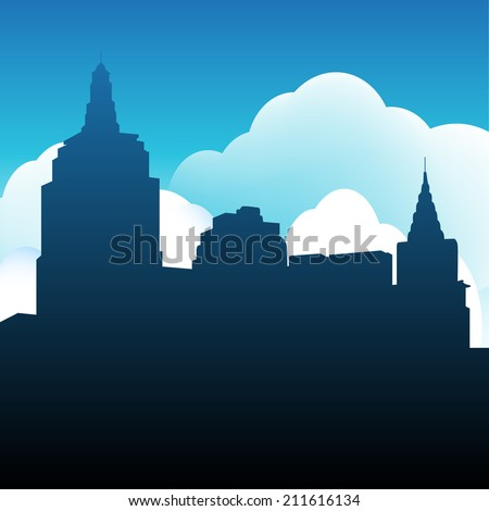 An image of a city skyline. - stock photo