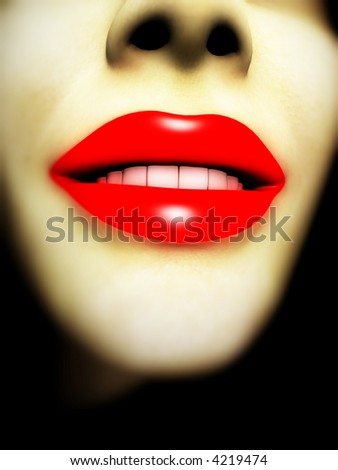 An image of a close up of a lady with red lip makeup.