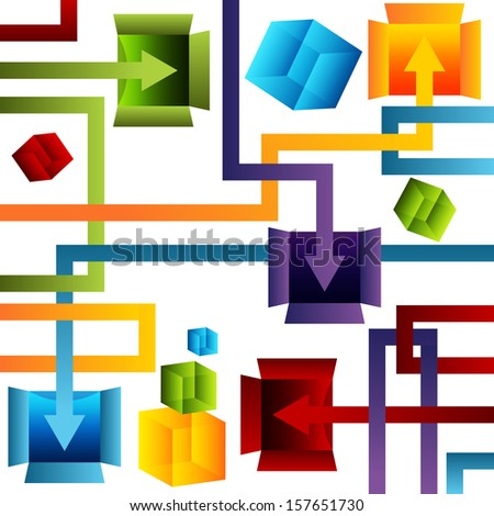 An image of a 3d container management chart. - stock photo