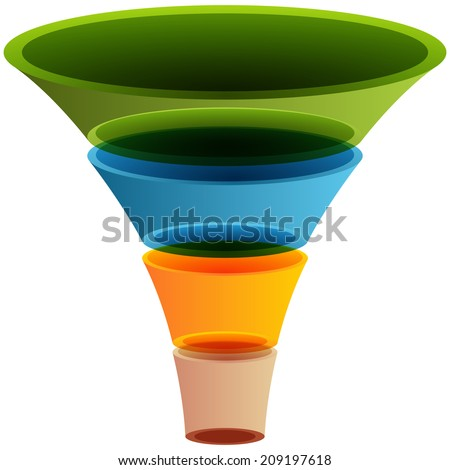 An image of a 3d layered funnel chart. - stock photo