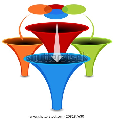 An image of a 3d venn diagram funnel chart. - stock photo