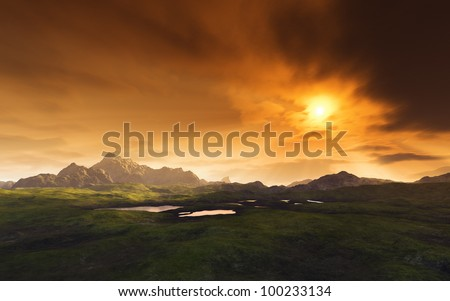 An image of a dark fantasy landscape - stock photo