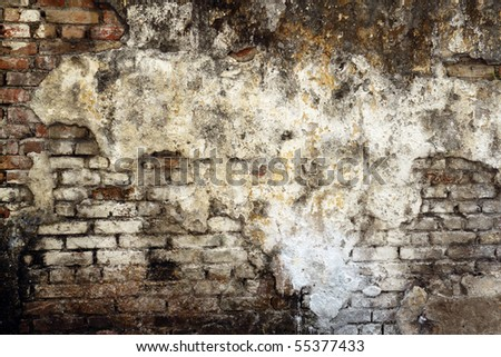 An image of a dilapidated moldy brick wall - stock photo