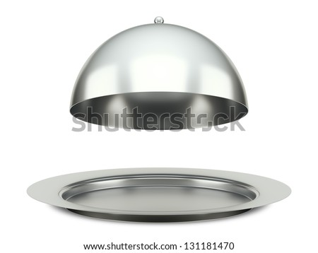 An image of a dining silver cloche platter - stock photo