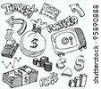 An image of a financial symbol doodle set. - stock