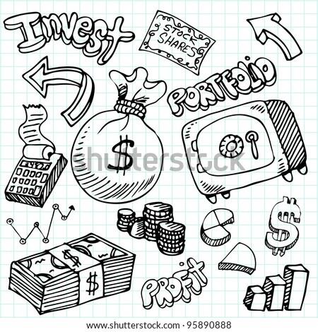 An image of a financial symbol doodle set. - stock photo