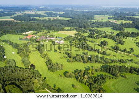 An image of a flight over the bavarian landscape - stock photo